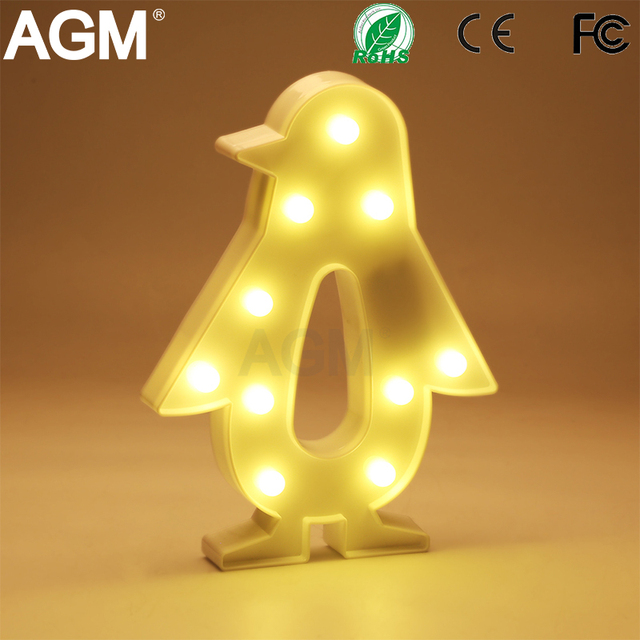 AGM Penguin LED Night Light 3D Marquee Standing Lamp Letter Light Luminaria  LED Battery Operated For