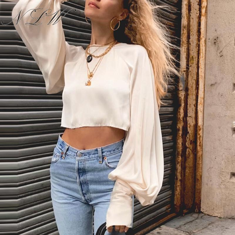 NLW Vintage Satin Crop Tops And Blouses Long Sleeve Button Blouses Solid Lace Up Lantern Sleeve Fashion Women Autumn Tops