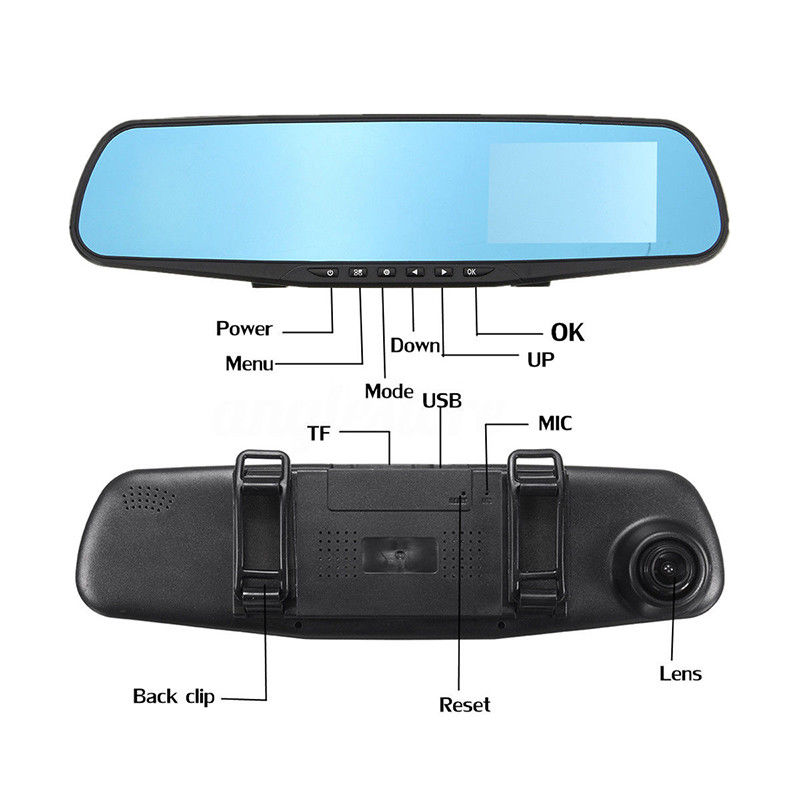 4.3 Inch Fhd 1080p Dual Lens Car Auto Dvr Mirror Dash Cam Recorder Rearview Mirror Night Vision Dvrs Rear View Camera Camcorder