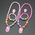 Free Shipping! Fashion Baby Girl Children Imitation Pearl Jewelry Set Kids Hello Kitty Necklace/Bracelet/Ring Set Gift TZ53