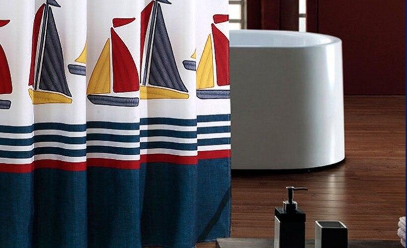 Douchegordijn polyester doek waterdicht moldproof blauw anker schip