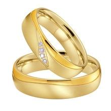 2020 nuevas alianzas de matrimonio amor pareja conjunto de anillos de boda para hombres y mujeres Color dorado propuesta titanio Acero inoxidable joyería