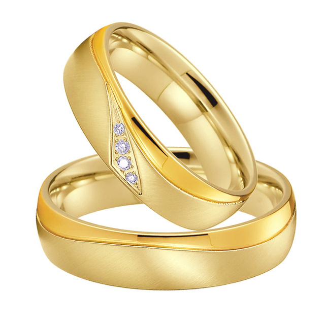 Wedding Band Couple Rings Men Gold Color anillos anel bague bijoux femme Alliance Jewelry Engagement Rings for Women