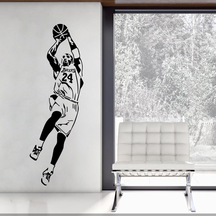 Free Shipping Eco friendly Sports Stickers Basketball Star Kobe Bryant For School Livingroom And Boy s Room in Wall Stickers from Home Garden