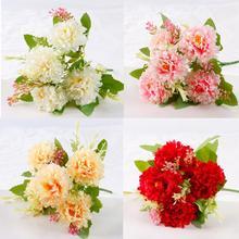 QIFU Diy Artificial Flowers For Wedding Decoration Champagne Hydrangea Silk White Fowers Bouquets