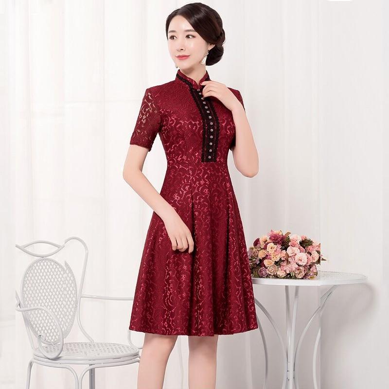Breve Stile Borgogna Mini delle Donne di Estate Cheongsam Cinese Del Merletto Qipao del Vestito Nuovo Arrivo Abiti Taglia S M L XL XXL XXXL 27511A