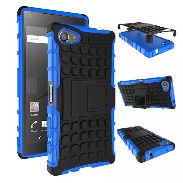 For Sony Xperia Z 5 Z5 Compact Plastic Tpu Rugged Grain Case With Stand