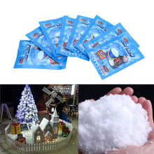 10pcs/lots White Snow For Christmas Wedding Fake Magic Instant Fluffy Super Absorbant Decorations Tree Powder