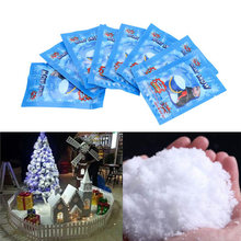 10pcs/lots White Snow for Christmas Wedding Fake Magic Instant Snow Fluffy Super Absorbant Decorations Hot Sale(China)