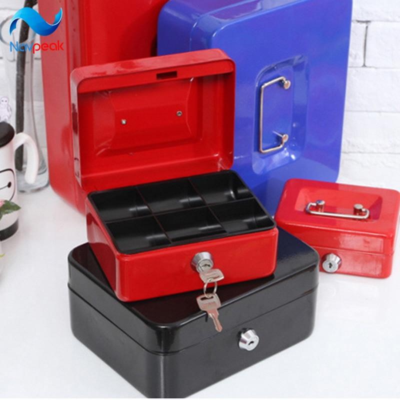 Navpeak 1pc Storage Bank Portable Storage Container Storage Box Stainless metal safety deposit Key Bank S/M/L/XL/XXL with Key