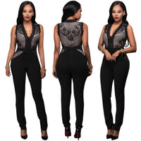 Sexy Mesh Rhinestone Bodycon Jumpsuit Women Elegant Tight Overalls 2017 Winter Autumn Party Club Fitness Rompers Bodysuit
