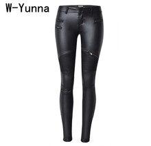 W-Yunna новые модные имитация денима тонкие леггинсы для женщин черный мотоцикл Уличная Брюки складки молнии искусственная кожа брюки