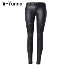 W-Yunna New Fashion imitacja denim Slim legginsy dla kobiet czarny motocykl Streetwear spodnie składane zamki błyskawiczne PU skórzane spodnie tanie tanio Pełna długość Skóra sztuczna spandex bawełna Fałszywe zamki błyskawiczne Splicowane Plione Niskie Szczupła