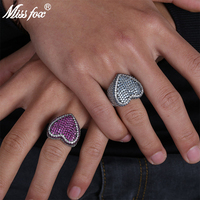 MISSFOX Hip Hop Cute Heart Sharp Micro Mosic Red/Blue HQ Cubic Zirconia Iced Out Romantic Women Men Platinum Party Ring