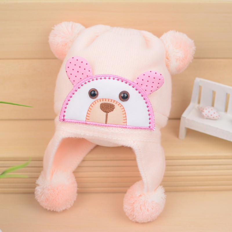 Bear Baby Hat Cotton Infant Caps Warm Ear Boys Beanies Thick Winter Girl Hats Autumn Toddler Cap With Pompom Accessories Newborn (12)