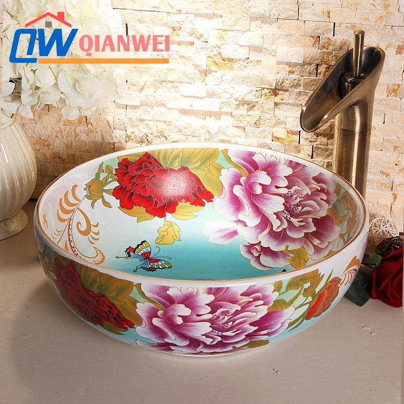 Jingdezhen ceramic art countertop wash basin sink for bathroomJingdezhen ceramic art countertop wash basin sink for bathroom