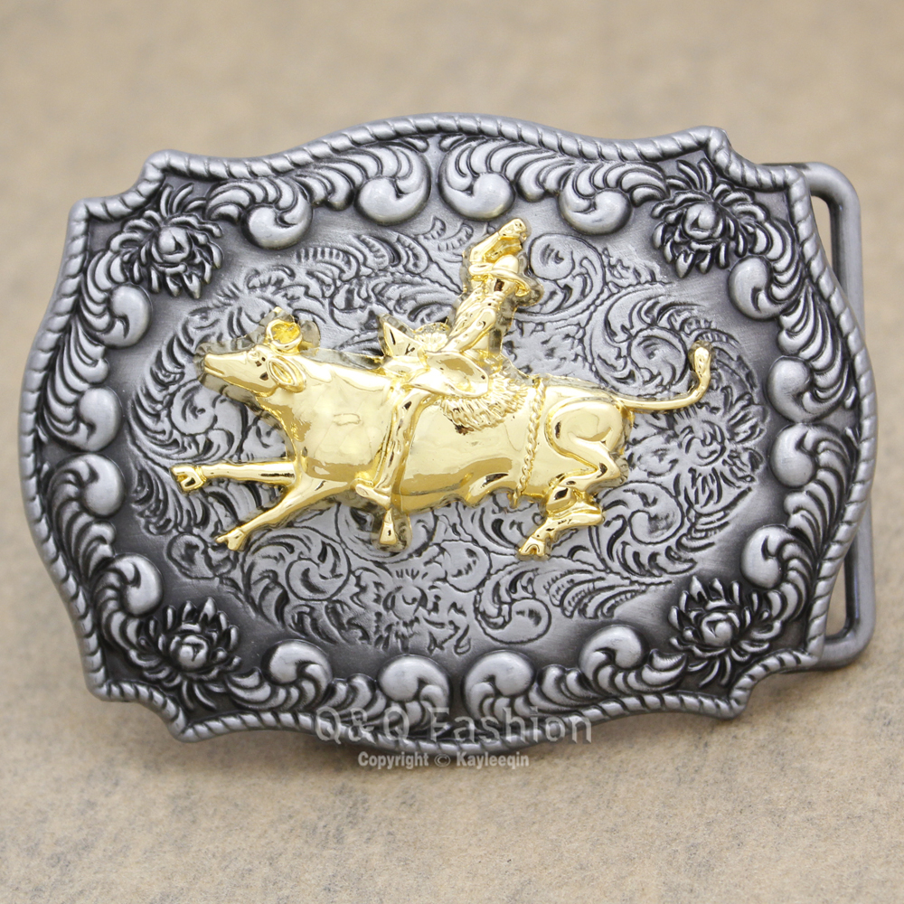 Vitnage Silver Western Cowboy Gold Texas Bull Rider Matador Rodeo Engraved Flower Belt Buckle Jewelry 2017 New