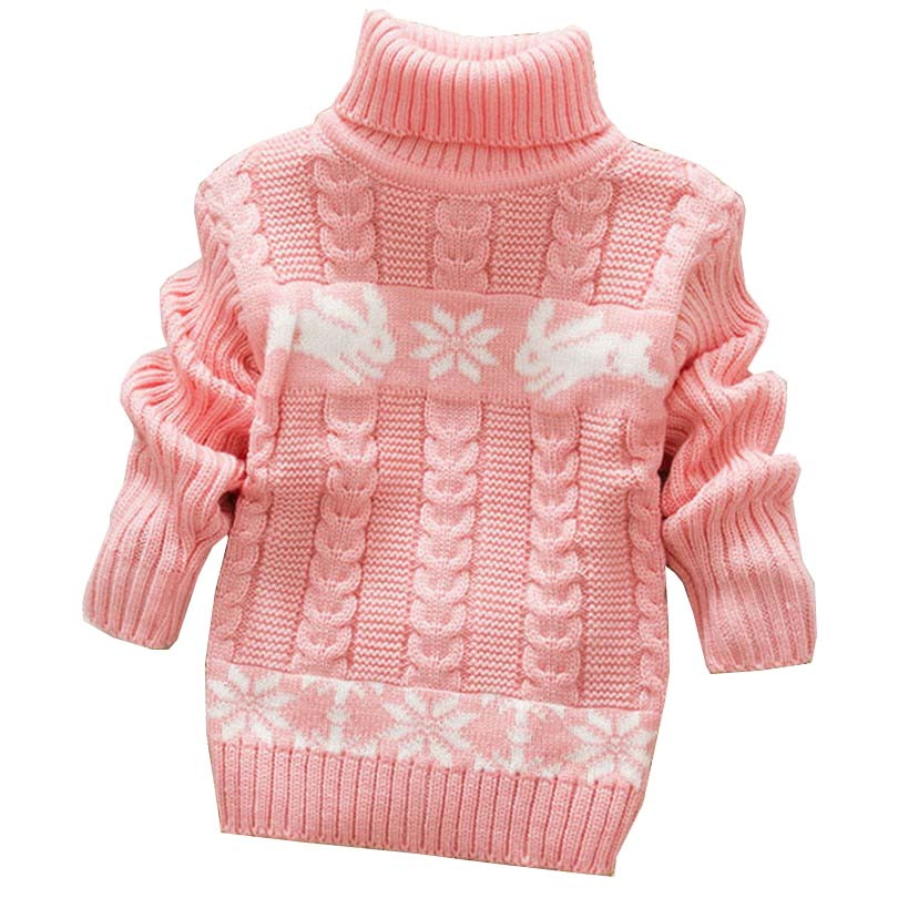 Autumn Winter Sueter Infantil for Girls Baby Sweater Coats with Cartoon Rabbit Print Cute Kids Sweaters New Soft Turtleneck Coat rabbit print split top