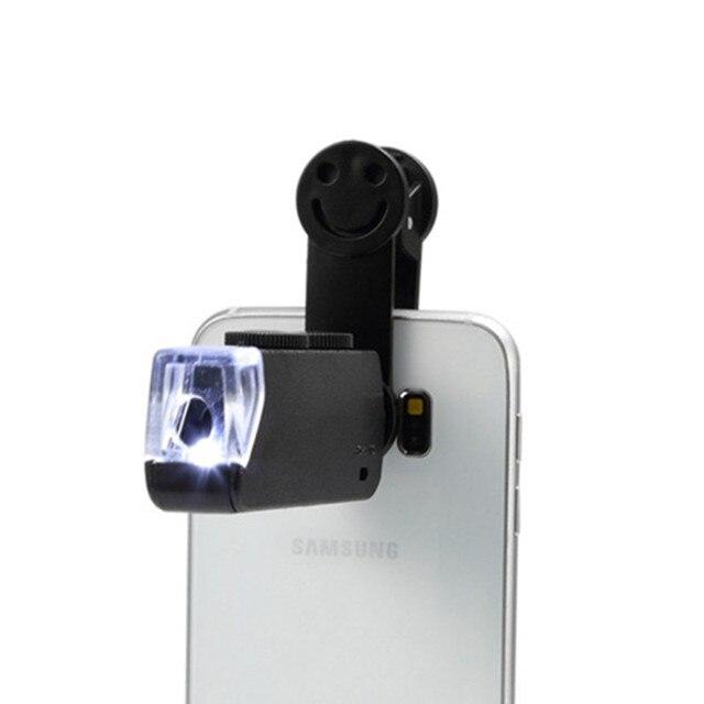 60 100X Zoom Handy linsen Mikroskop Universal Lächeln Clip Lupe Kamera Objektiv für Samsung Galaxy S8 S7 Iphone 7 6 6S 5