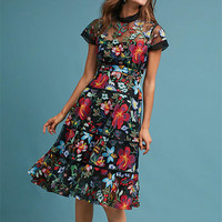 HANZANGL New Arrive 2018 Summer Dress Womens Short Sleeve Floral Mesh Embroidery Dress Vintage Casual Party