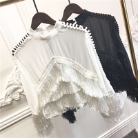 Korea new fashion women spring top white black round collar long sleeve flounced shirt street lady casual cotton shirt