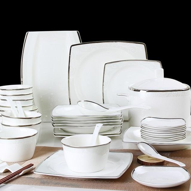 European household bone china tableware set 56 Pcs simple western style dishes set ceramic bowl plate & European household bone china tableware set 56 Pcs simple western ...