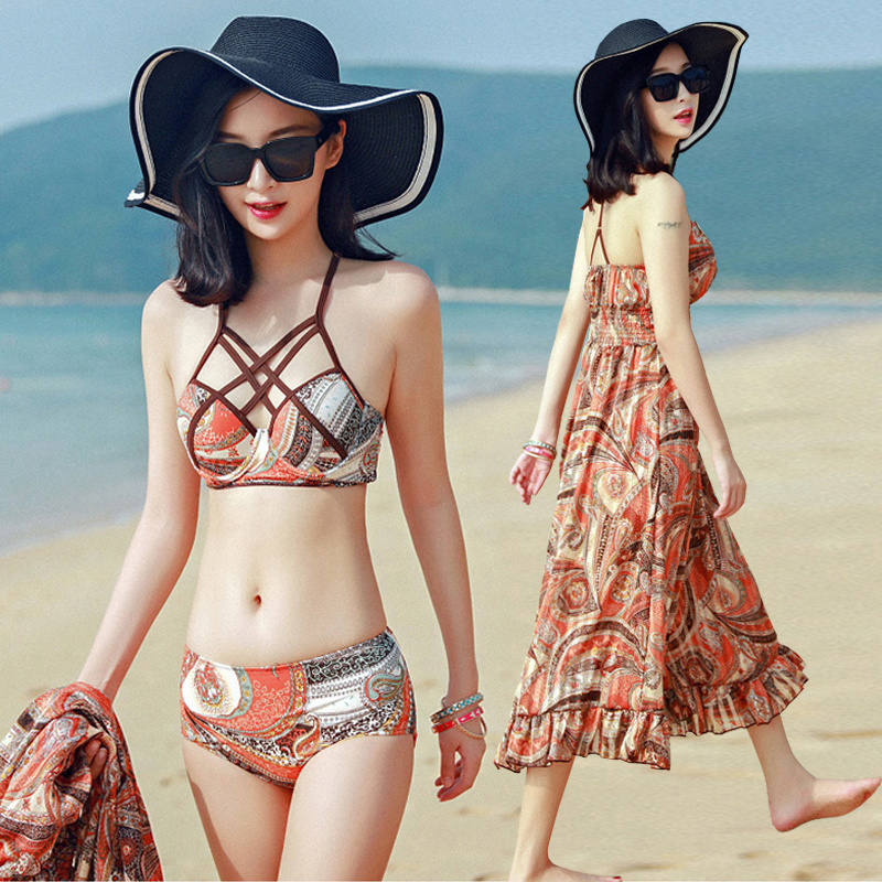 Beach Sports Woman Swim Bikini Three-piece Suit Swimsuit Female Small Chest Gather Together Sexy Hot Spring Swimwear niumo new beach sports swim swimsuit woman skirt style bikini three piece suit swimwear gather together hot spring swimwear