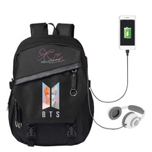 KPOP BTS Bangtan Boys Album Backpack Signature Canvas Bag USB Charger Package Anime Unisex Should Bags For Men And Women SJB797(China)