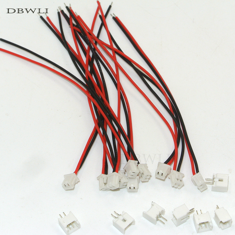 10 PCS Mini <font><b>Micro</b></font> female <font><b>JST</b></font> 1.25 <font><b>1.25mm</b></font> 2-Pin 2P Pin Connector plug with 80mm Wires Cables image