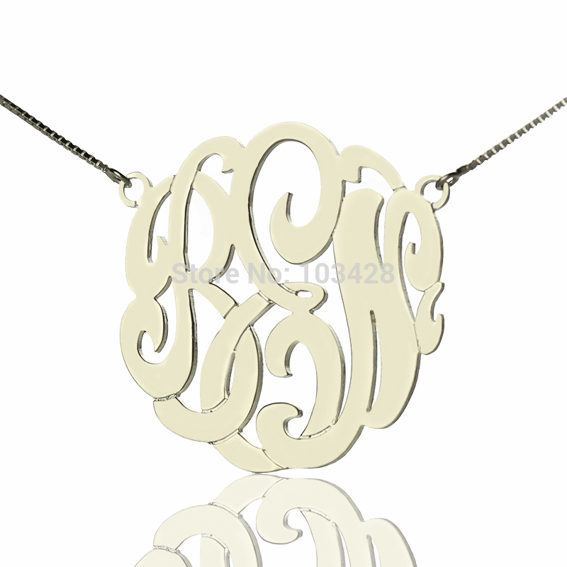 AILIN Personalized Monogram Hand-painted Necklace Silver Cut 3 Monogrammed Initials 3.5cm Name Necklace Jewelry цена