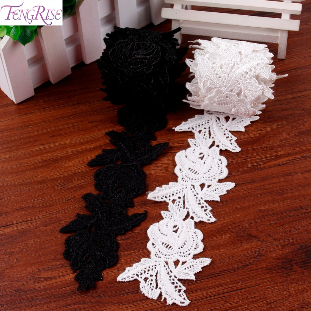 FENGRISE 2 Yards Rose Flower Lace Fabric Bridal Dress Sewing Embroidered Cotton Ribbon Venice Lace Trims Applique Accessaries