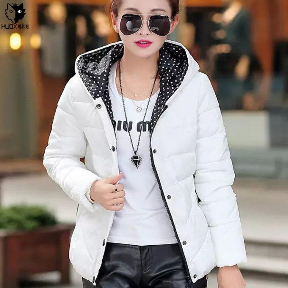 HUOX Saf Renk Kapüşonlu Kış Sıcak Palto 2016 Kore Tarzı Tek Göğüslü Fermuar Pamuk Yastıklı Ceket Kadın Kısa Sıcak Ceket