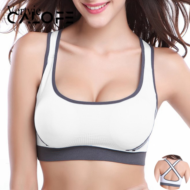 CALOFE Sports Bra Solid Color Back Cross Stretch Bras Push Up Bra Soft Seamless Crop Top Pad Athletic Gym Vest Women Fit Tops
