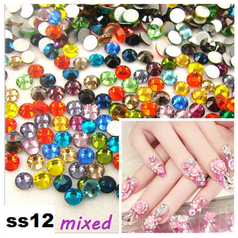 CCBLING Super Shiny SS12(3.2mm)1440pcs/Bag Crystal Mix color 3D Non HotFix Flat Back Nail Art Decorations Flatback Rhinestones ccbling super shiny ss3 ss40 bag clear crystal ab color 3d non hotfix flatback nail art decorations flatback rhinestones