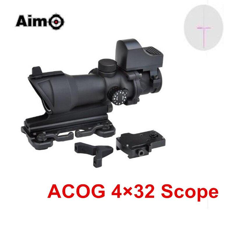 Visée O Trijicon point rouge ACOG 4x32 lunette de visée optique pour pistolet rouge/vert réticule avec monture QD Mini points rouges AO 5321