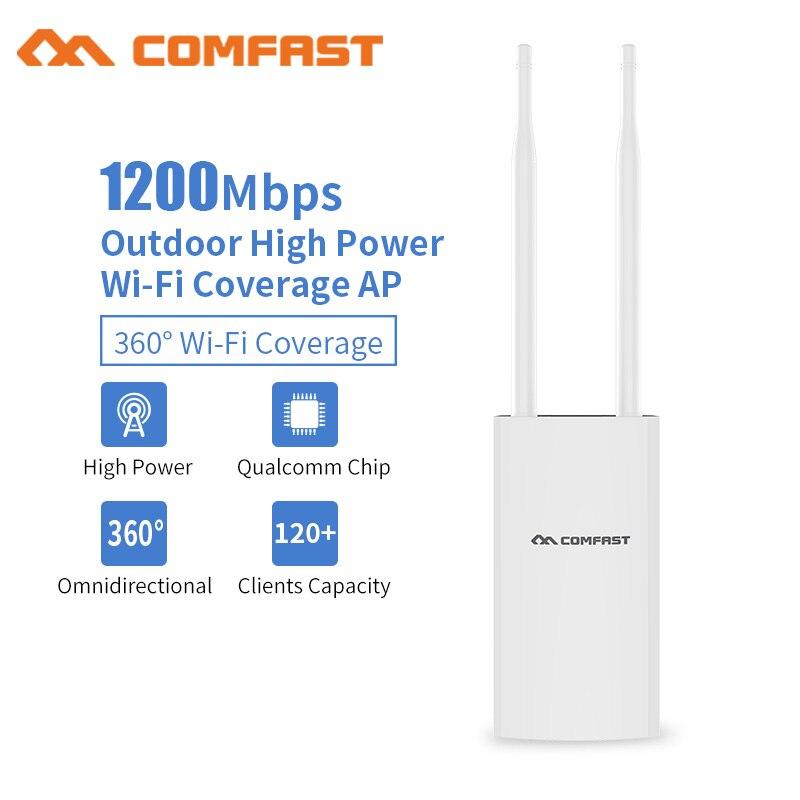 Comfast 1200 Mbps CF-EW72 double bande 5 Ghz haute puissance extérieure AP 360 degrés couverture omnidirectionnelle Point d'accès Wifi Station de Base
