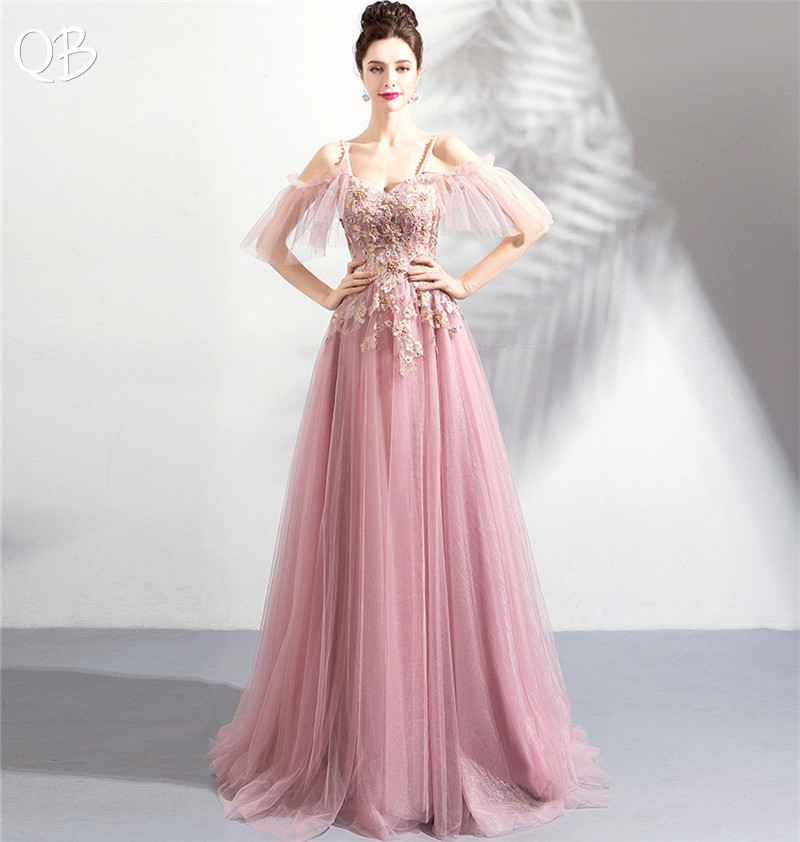 A line Sweetheart Tulle Lace Flowers Beading Formal Elegant Pink Evening Dresses 2019 New Fashion Bride
