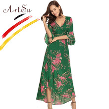 c66026fa60 ArtSu Retro Boho Ruffle Floral impresión Maxi Vestido mariposa manga  vestidos de fiesta mujeres verde largo