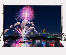 150x210cm Colorful Fireworks Night View Backdrop Tokyo Rainbow Bridge Photography Background Weeding Party Celebration
