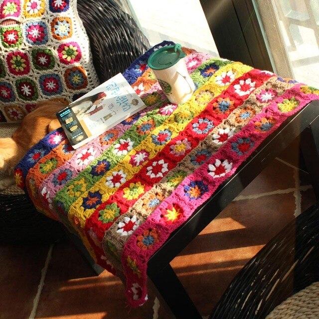 Reine Handgemachte Pastoralen Daisy Streifen Häkeln Decken