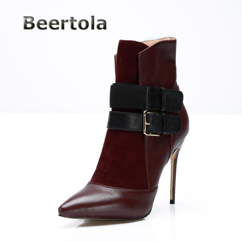 Sexy Per A Shown Donne Sottili Tacchi Alti Modo Toe Progettista Di 12  Beertola Talloni Punta Ankle Cm Le Del Delle Scarpe ... 089c95302c5