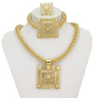 Big Heavy Chunky Jewellery Necklace Pendant Earrings Ring Bracelet 18K Gold Plated Women Bridal Jewelry Sets