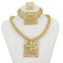 Купить с кэшбэком Big Heavy Chunky Jewellery Necklace Pendant Earrings Ring Bracelet 18K Gold Plated Women Bridal Jewelry Sets Accessories