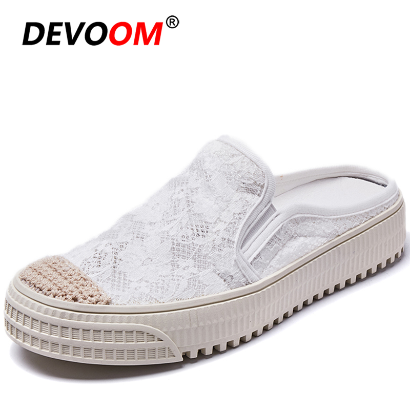 Lace Breath Mules <font><b>Mujer</b></font> Fashion Summer Women Mules Light Teenslippers Women Indoor Slippers Slip-on Home Shoe Womens Shoes Flats image