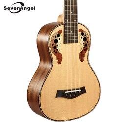 SevenAngel Marque 23 pouce Concert Ukulélé 4 cordes guitare Hawaïenne Ingman Panneaux D'épicéa Raisin trou Électrique Ukulélé avec Ramassage EQ