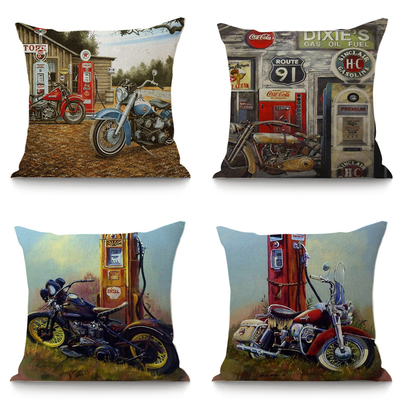 Retro Route 66 Print Linen Pillow Case Soft Cushion Cover Home Cafe Decor Trendy