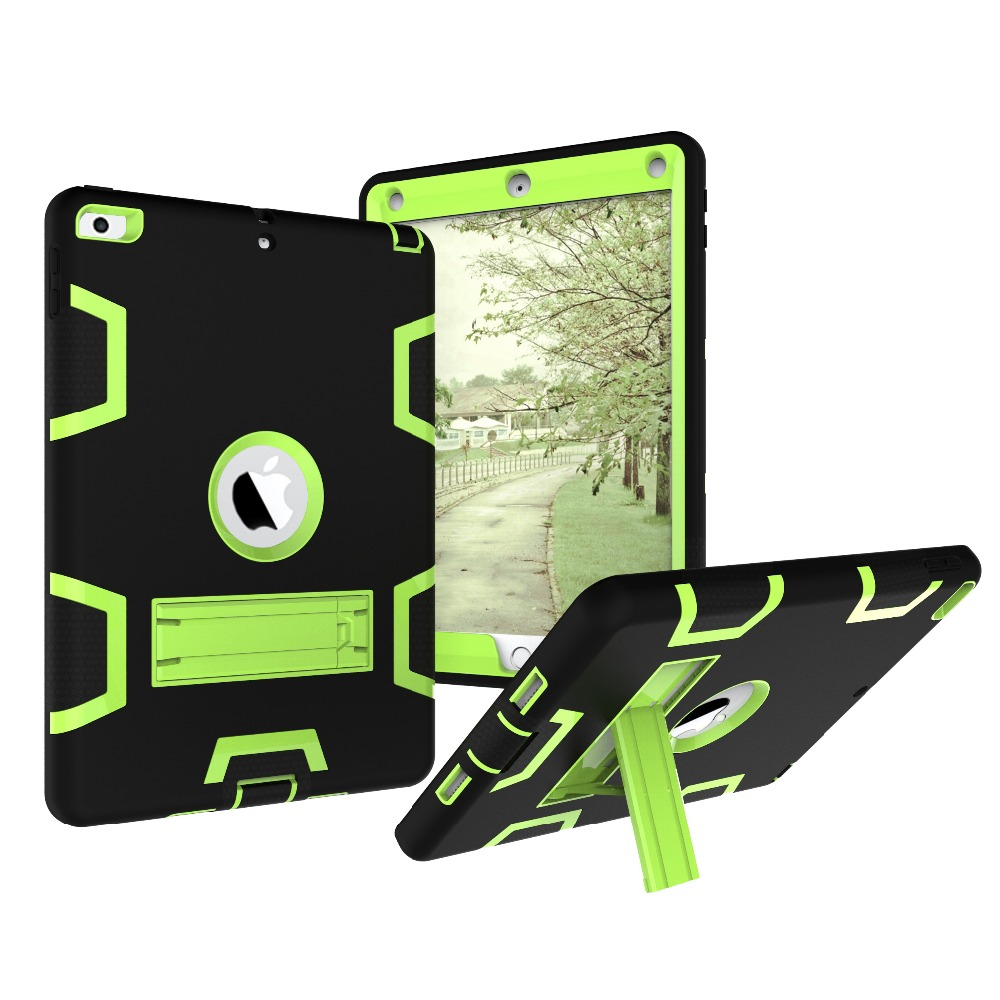 Silica gel+PC High Quality Armor Shockproof Cases Cover For 2017 New iPad 9.7 inch,Heavy Duty Hard Cover Full Body Prot -YCJOYZW for ipad pro 10 5 a1701 a1709 kickstand case heavy duty shockproof rugged armor hard pc silicone full body protect cover foripad
