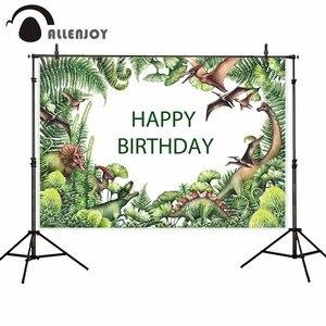 Image 2 - Allenjoy Achtergronden Voor Fotografie Studio Aquarel Dinosaurus Groen Prehistorische Plant Hand Painted Achtergrond Jurassic Photocall