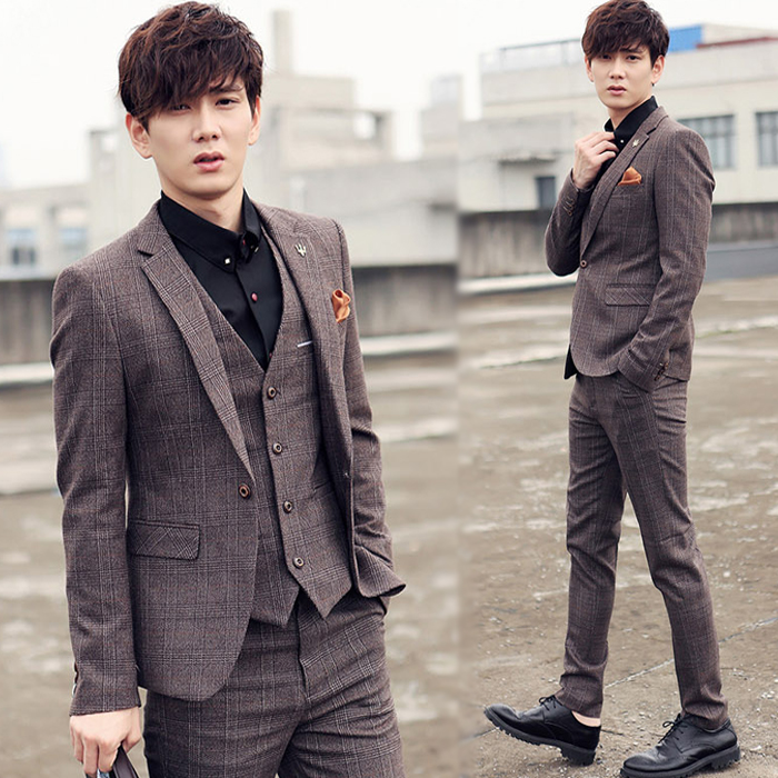 The new spring suits Korean font b tartans b font slim type groom wedding dress suit