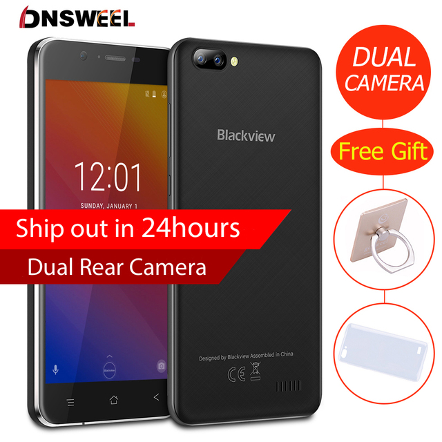 New Blackview A7 Smartphone Android 7.0 MTK6580 Quad core 5.0inch IPS HD Mobile phone 1GB+8GB Dual Rear Camera GPS 3G cell phone
